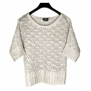 It's Our Time Metallic Crochet Sweater M